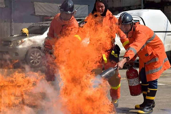 อบรมดับเพลิงขั้นต้นและซ้อมอพยมหนีไฟ ประจำปี 2561